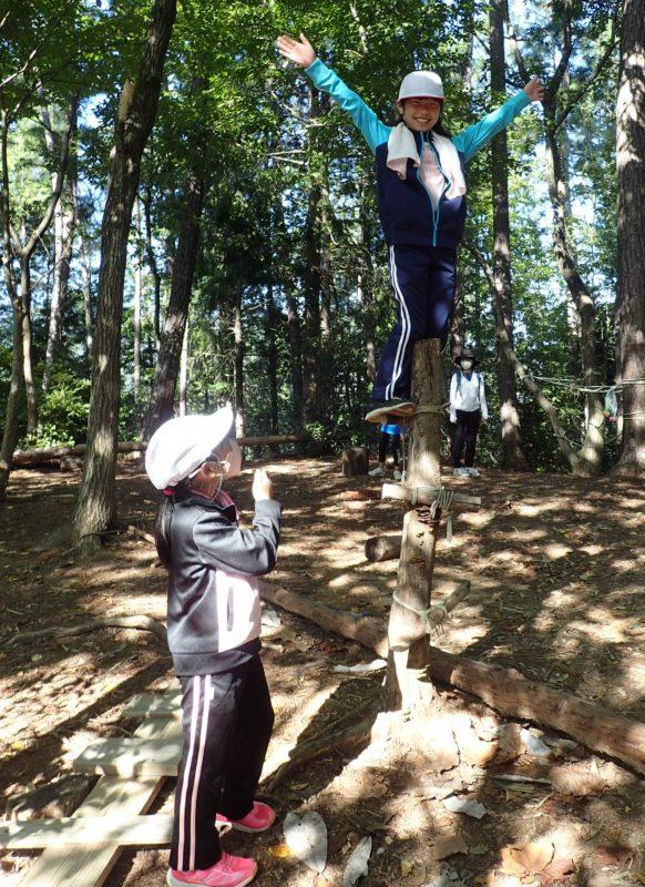 生きた木に枝を縛り付けて登る子どもたち