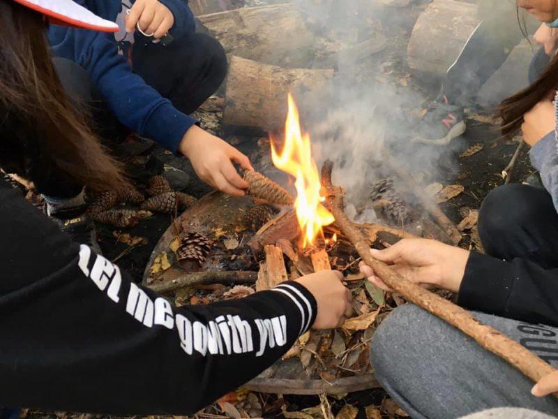 焚火に挑戦した子たち